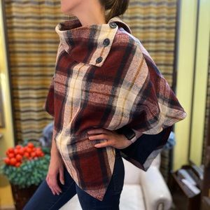 Last Kiss Vintage Plaid Poncho outer wear jacket